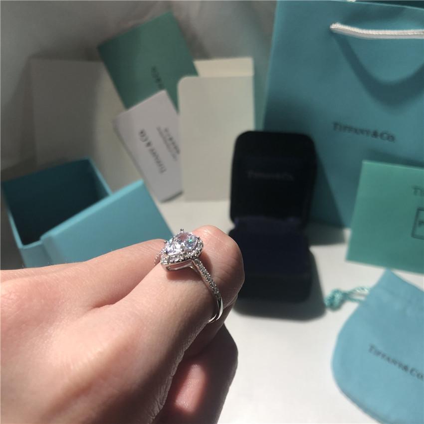 anillos al por mayor de Soleste anillo en forma de pera amor regalo de lujo diseñador de joyas de plata de ley 925 se elevó la boda de compromiso de oro con la caja