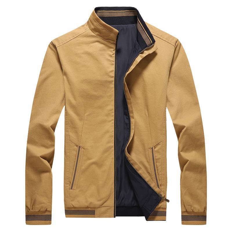 봄 가을 남자의 폭격기 가역 재킷 칼라 캐주얼 남성 착실히 보내다 윈드 자켓 남성 야구 슬림 코트 5XL 스탠드