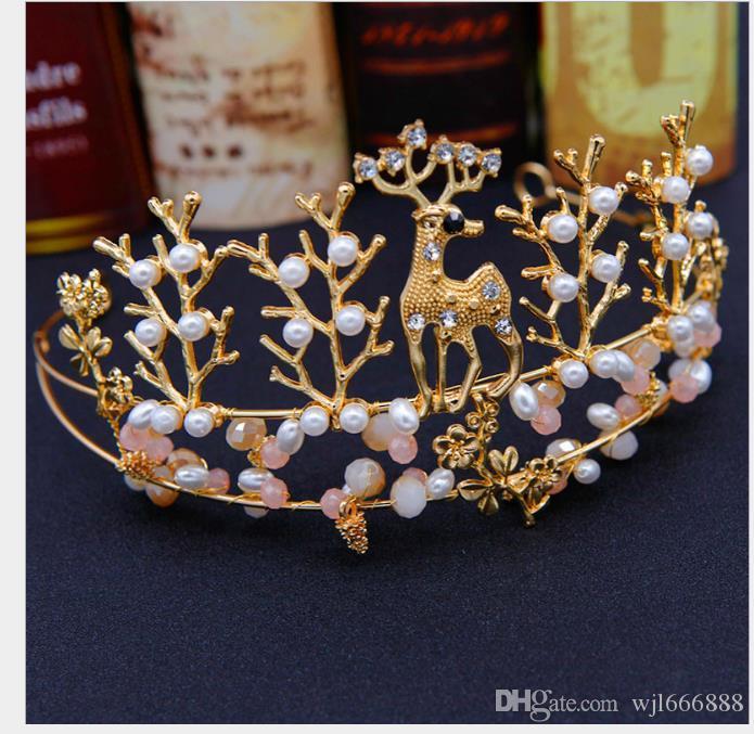 Girl Princess Hair Hoop Headdress Deer Shape Hand Beaded Children Crown Stage Performance Accessory Performance