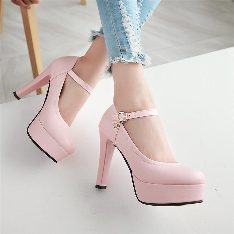 YMECHIC 숙녀 우아한 섹시 하이힐 파티 드레스 메리 제인 신발 여성 하이힐 플랫폼 핑크 블랙 베이지 펌프 여성