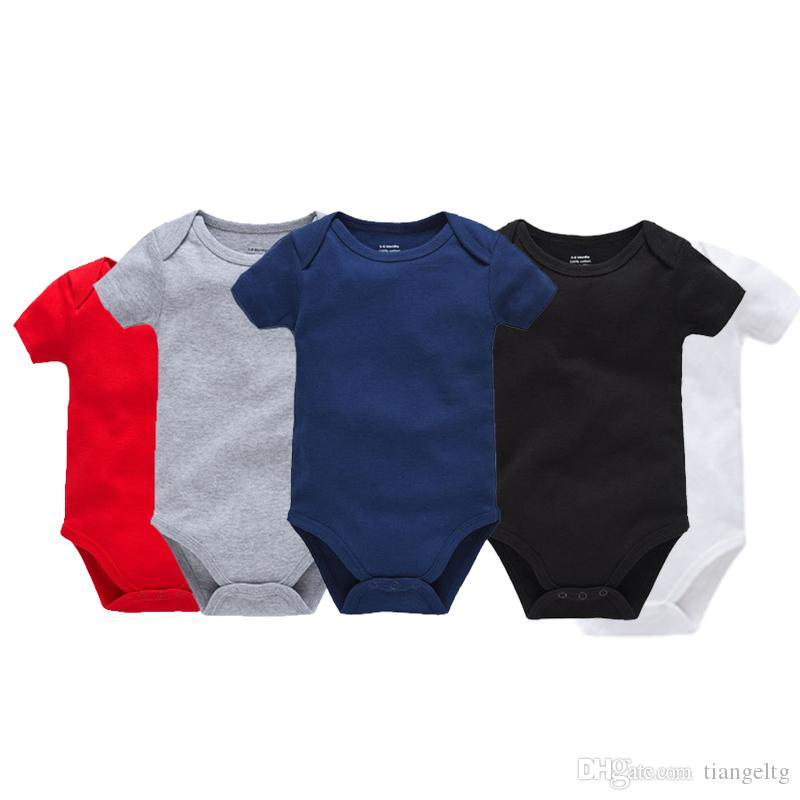 Infant Solid Triangle Rompers Short Sleeve Cotton Envelope Collar Single Breasted Jumpsuit Kids Onesies Boy Girls Outfits 0-2T