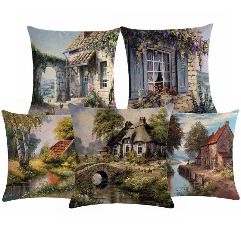 Country Scenery Oil Painting Printing Cushion Cover Linen Cotton Living Room Garden Decoration Throw Pillow Case