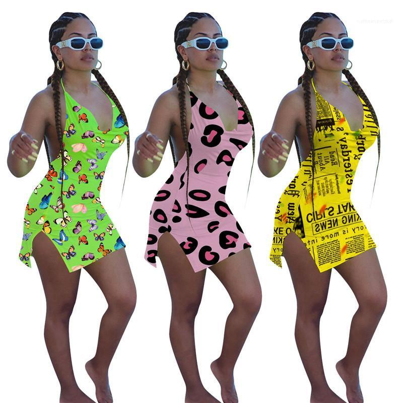 Neck Casual Female Apparel Fashion Halterneck Women Bodycon Dresses Sexy 3D Print Beach Dress Womens V