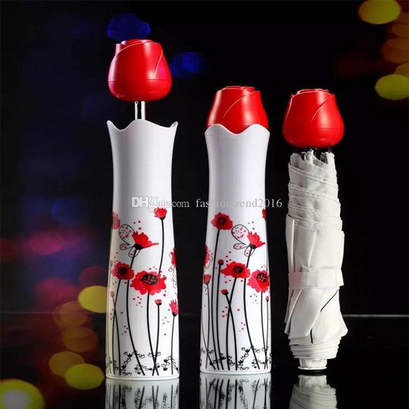Parfüm Rose Flower Vase Shaped Umbrella Outdoor Travel Tragbare Regen Sonnenschirm Weinflasche Regenschirme Taschenschirme Großhandel