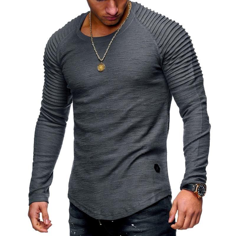 Slim T shirt Muscoli manica lunga da uomo solido di colore idoneità Tops Moda T-shirt o-collo casuale maschio maglietta Tee Shirt Homme