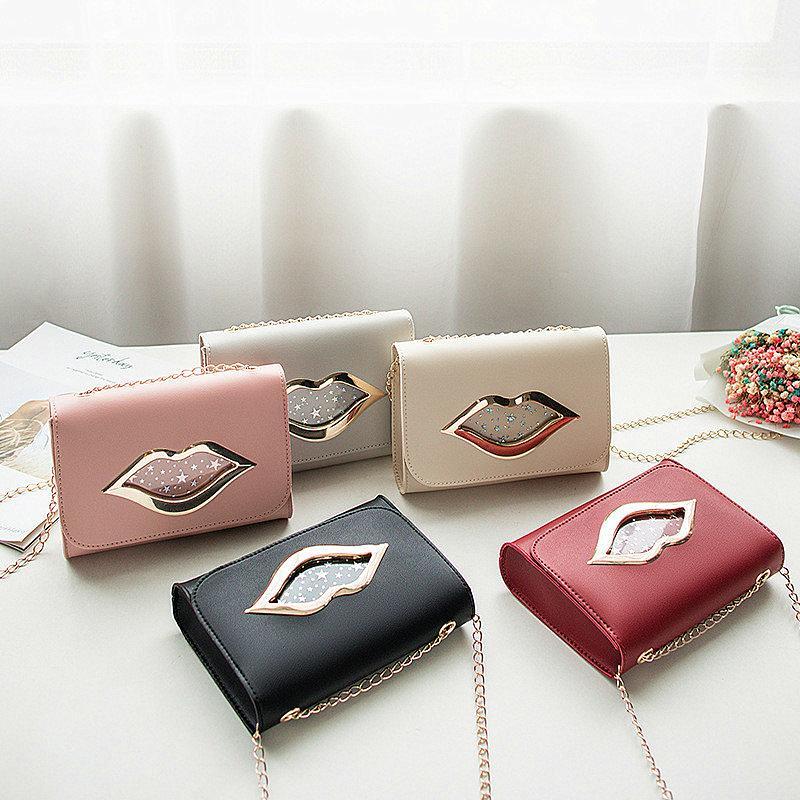 Модные женские сумки через плечо красные губы печати цепи сумка искусственная кожа Crossbody сумка простой высокое качество ретро винтаж сумка телефон сумка подарки