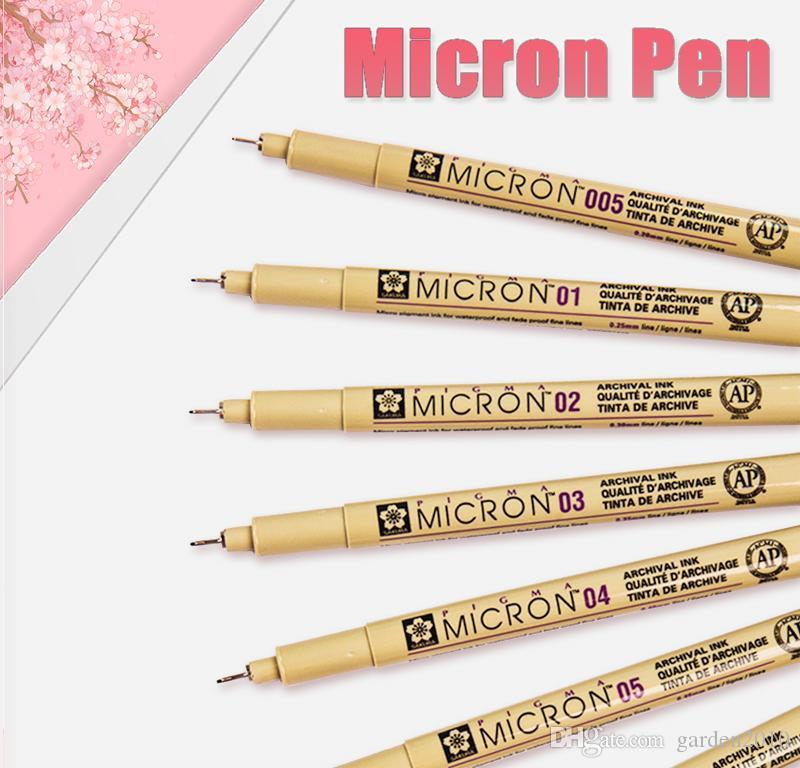 Diseñador de marcadores Conjunto Pigma Micron pintura de la pluma para dibujar con cepillo suave Pintura impermeable pluma 1.0 2.0 3.0 cepillo Arte Marcadores