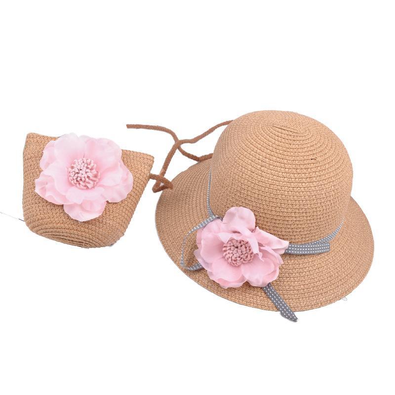 Kızlar Hasır Şapka + çanta 2 adet çocuklar setleri 2019 yeni Kova Şapka Çocuk Şapka hasır çanta Yaz Güneş Şapka plaj çantası Kızlar plaj şapka A4160