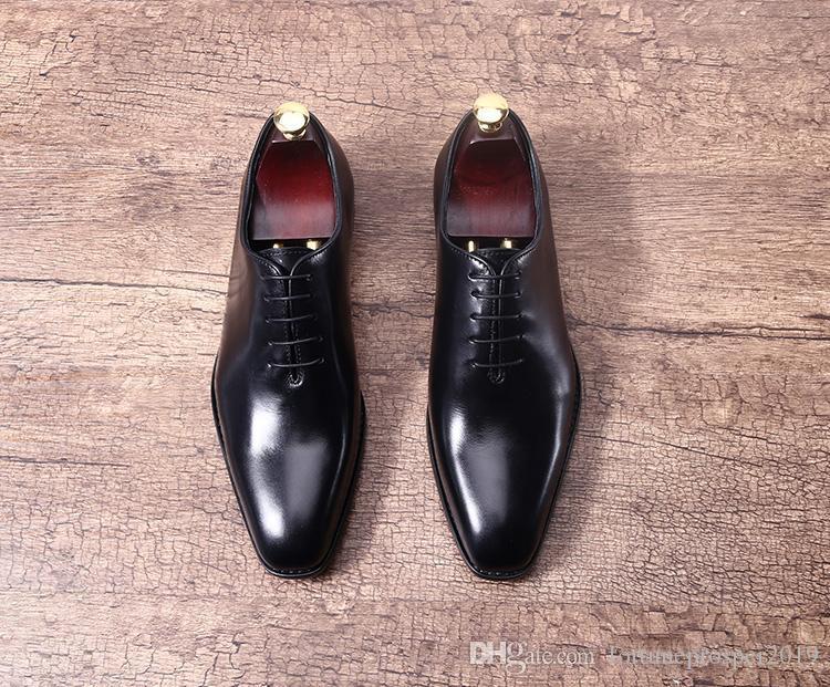 Dedo del pie cuadrado Man Italia Derby Oxfords Zapatos Primavera 2019 cordones de la boda real de cuero Oxford partido vestido de fiesta barca Zapatos Zapatos