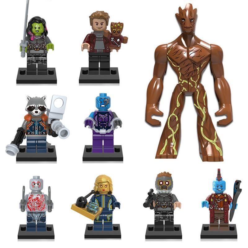 Guardians of the Galaxy Building Blocks Tree Man Groot Star Lord Rocket Raccoon Gamora Yondu Nebula Ayesha Drax Mini Action Figure Toy