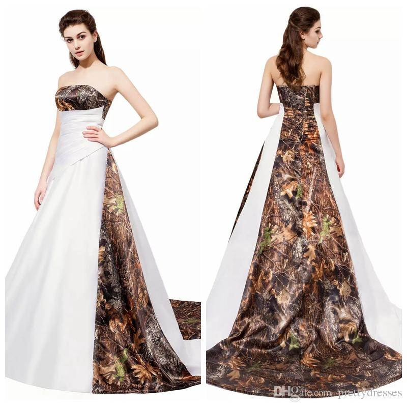 Discount 2020 Strapless Camo Wedding Dresses Pleated Ruched Camouflage Bridal Gowns Bandage Formal Slim Real Tree Long Vestidos De Marriage Custom Black Wedding Dresses Indian Wedding Dresses From Prettydresses 108 54 Dhgate Com