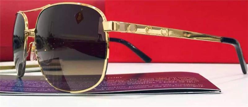 new men brand designer sunglasses square sunglasses screws logo legs T8200881 france designer retro style gold plated mirror lens