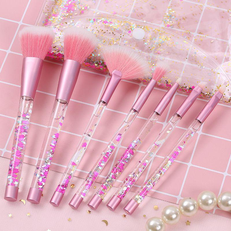 Brosses de maquillage Set 7 PCS Crystal Sequins Diamond Brosse Beau flux QuickSand Poignée liquide Mélangez des kits de maquillage