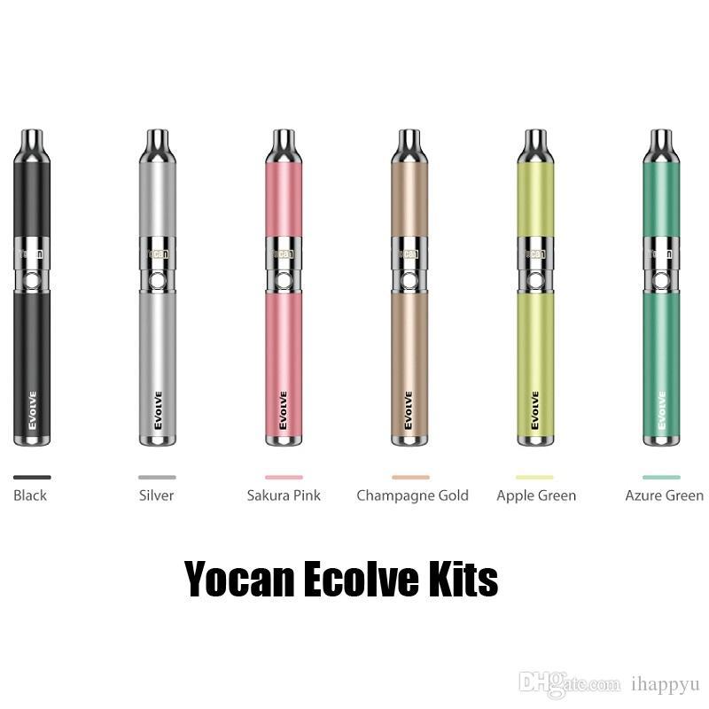 Newest Colors 100% Original Yocan Evolve Starter Kit wax pen Vaporizer with 0.8ohm Quartz Dual Coils 650mAh Battery ego thread tank 2204020