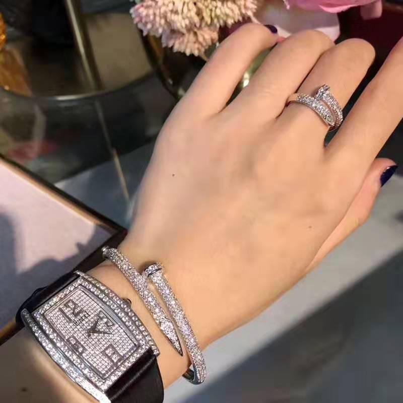 Pulseira Estrela revestida com ouro 18K real, pulseira unhas de diamante, diamante prego placa maré anel japonês e coreano