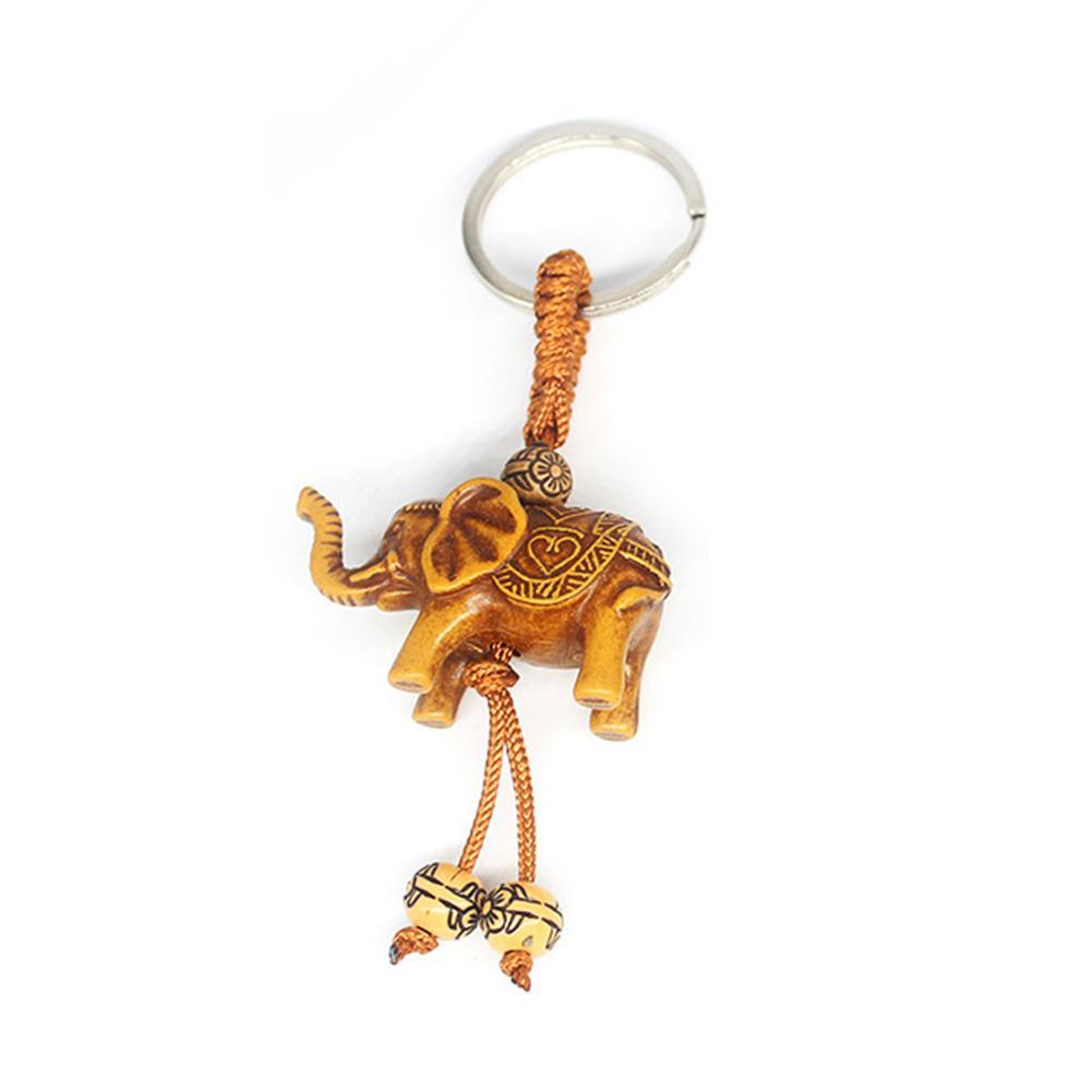 Éléphant de la chance sculpture en bois pendentif porte-clés chaîne porte-clés mal défend cadeau