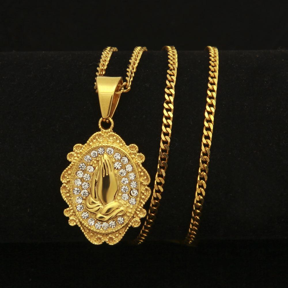 Новая мода нержавеющая сталь Bling Алмаз золото рука молитвы филигрань круглый кулон ожерелье хип-хоп рэпер ювелирные изделия для мужчин женщин для продажи