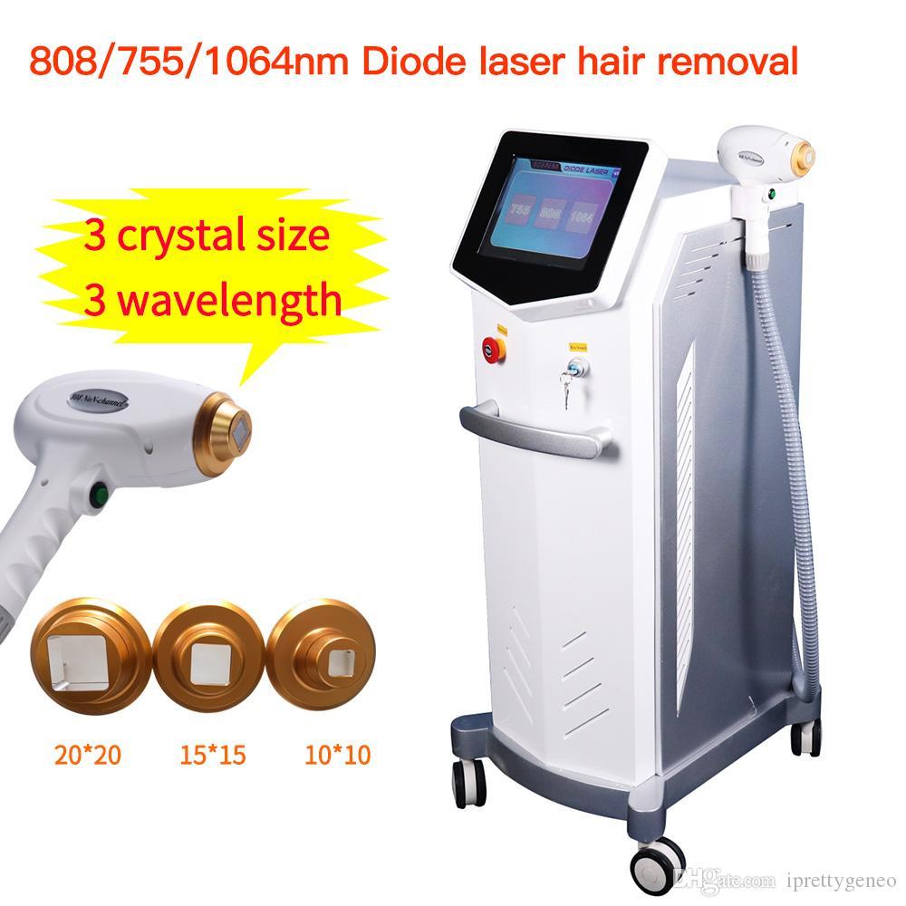 Livraison gratuite 3 longueur d'onde 755nm 808nm 1064nm Diode Laser Hair Removal Machine Rajeunissement de la peau Beauté Équipement Salon