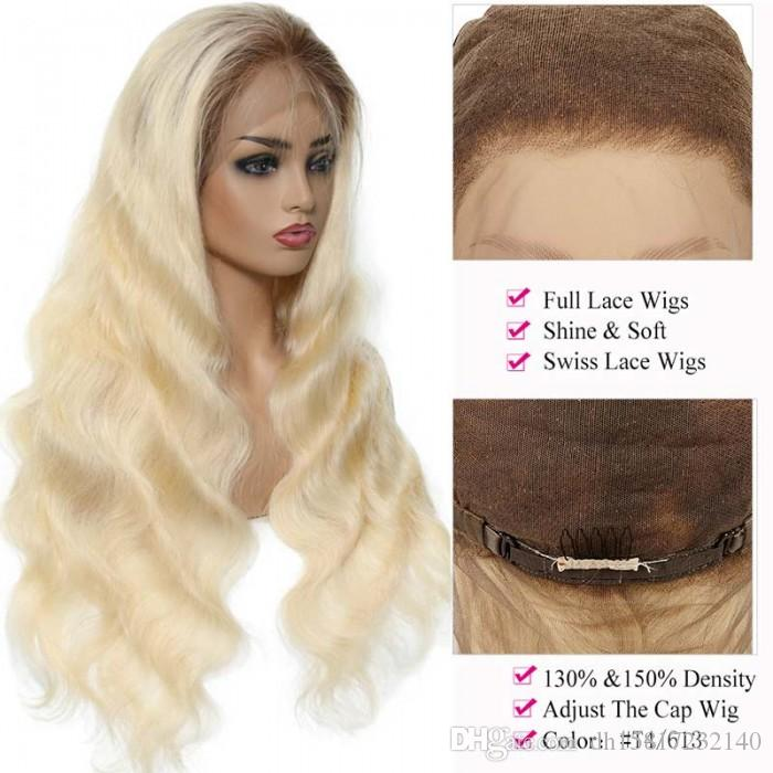 human hair t4-613 ombre blonde body wave 150 and 180 density pre plucked invisible lace serie