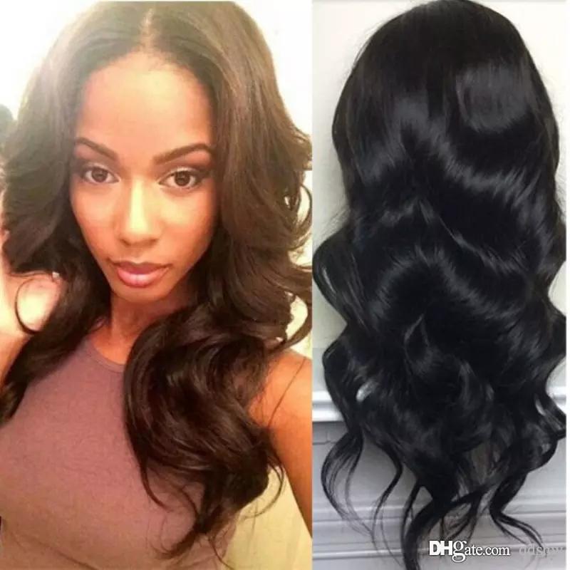 U Parrucca Parte del Virgin dei capelli Vendita lunghi capelli umani dell'onda del corpo dei upart peruviano Preplucked Glueless U Parte parrucche per donne di colore