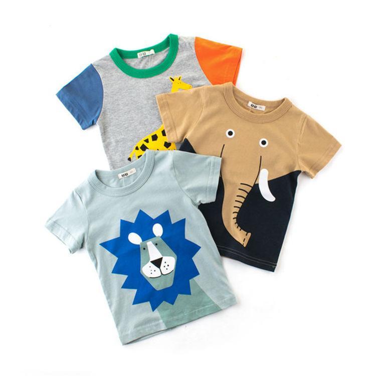 erkek bebek için moda çocuk tişört hayvan baskı tee çocuklar pamuk yaz giyim kısa kollu tişört