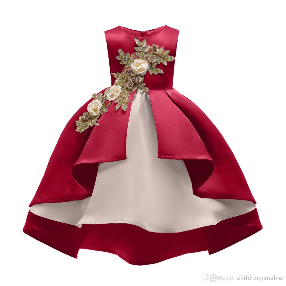 Girls Christmas Red Green bias Trailing Dress Princess baby Clothes Children Wedding Birthday Party frocks For 4 6 8 10 12 Years