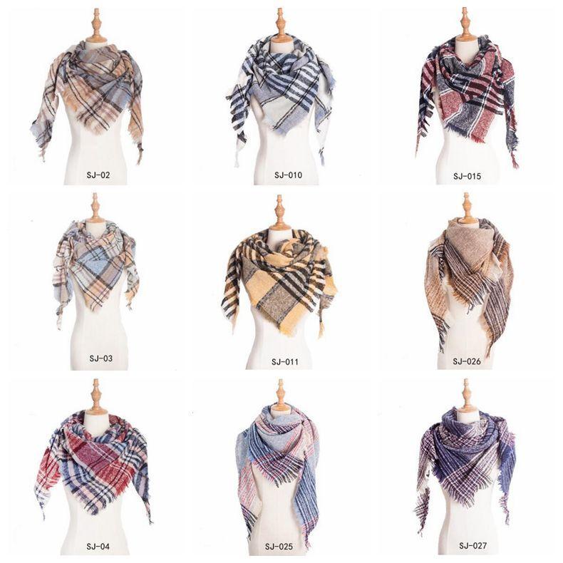 Manta lenço meninas Verifique Tassel Wraps Grade Malha Xaile Oversized Triângulo Neck franjas Cachecóis Pashmina Aqueça Lenço Cobertores YP6456
