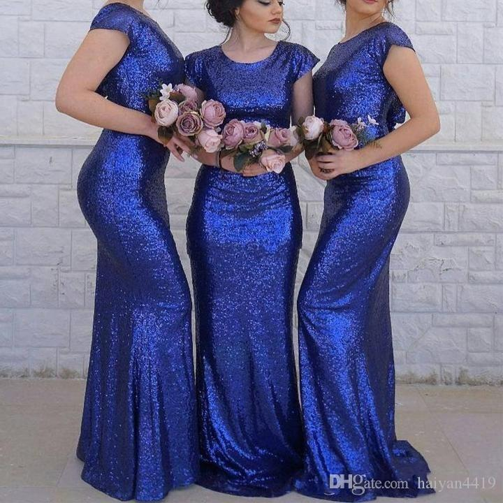 2019 Cheap Sexy Royal Blue Sequins Bridesmaid Dresses For Wedding Jewel Neck Short Sleeve Open Back Arabic Maid of Honor Wedding Guest Gowns