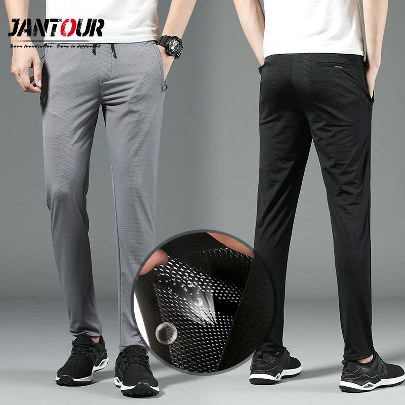 Jantour marca di alta qualità pantaloni in tessuto a rete sottile Uomini Spring Summer Fashion Sport Slim Fit Casual Male fare jogging pantaloni Mens