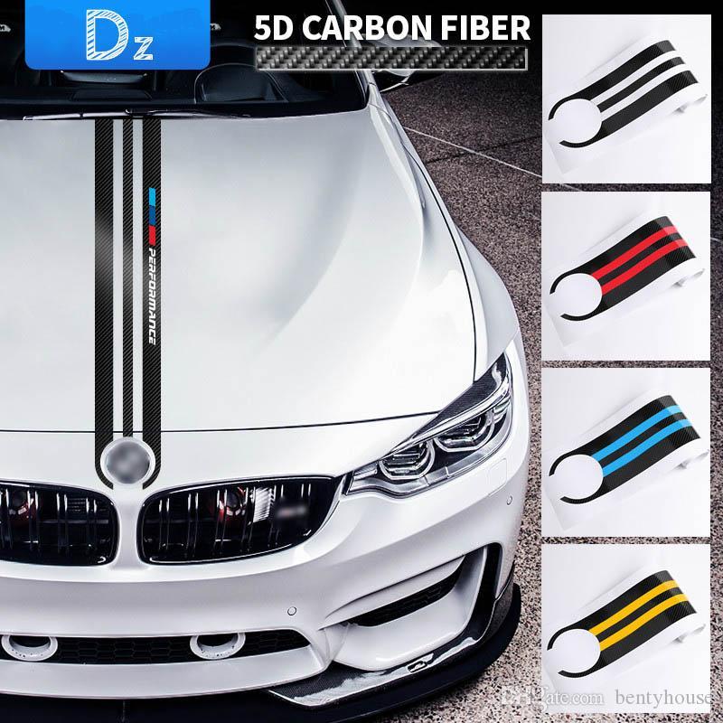 Car Styling Stickers Carbon Fiber Car Hood Sticker Decals M Performance Decor for BMW E90 E46 E39 E60 F30 F10 F15 E53 X5 X6 Accessories