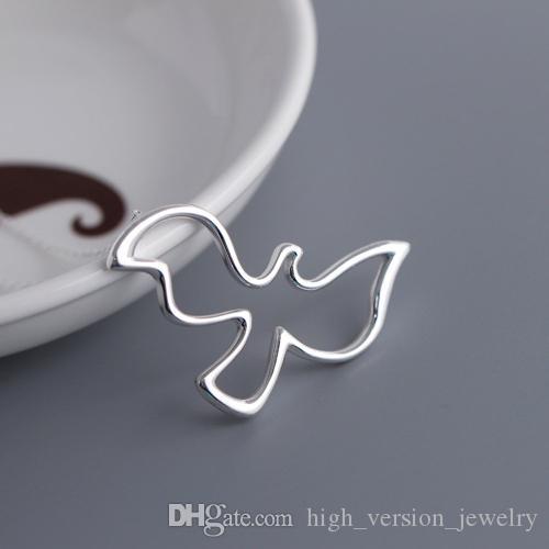 Frau Tier Silber Kette 925 Frieden Taube Anhänger Halsketten 925 Sterling Silber Halskette Weiblichen Charme Valentinstag Geschenke für Frauen
