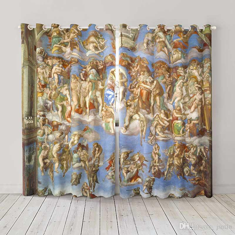 Personality Custom curtain world famous painting Last Judgment Michelangelo drapes Extra wide Blackout curtain party decoration background