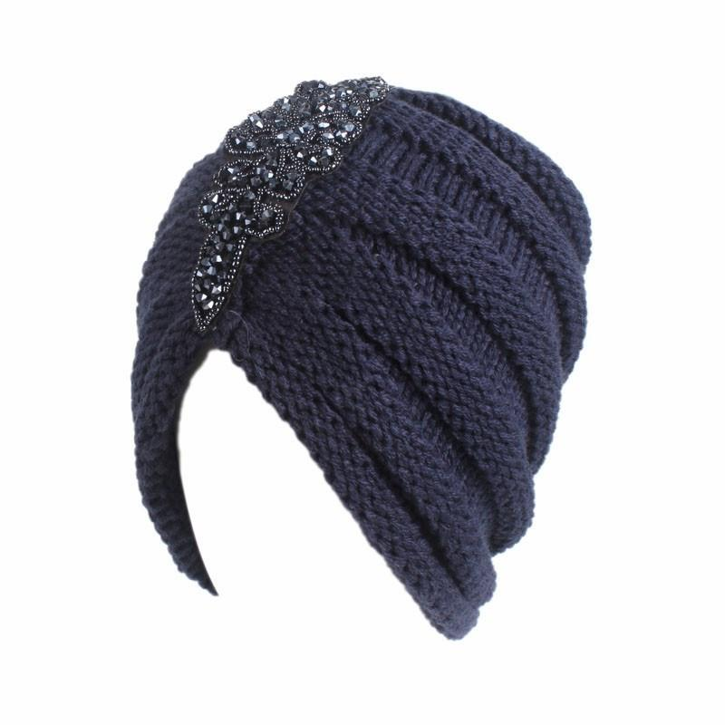 Women's wrinkled wool warm autumn and winter cold-proof headgear hat string bead-tipped drill head scarf hat leisure outdoor