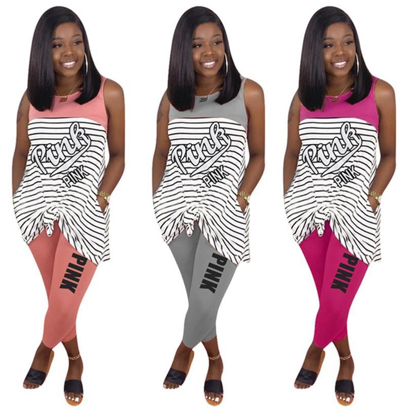 Розовый женский дизайнер 2 шт. комплект S-3XL полосатая футболка брюки пуловер летняя повседневная одежда сексуальная печать наряды круглый вырез jogger костюм DHL 2968