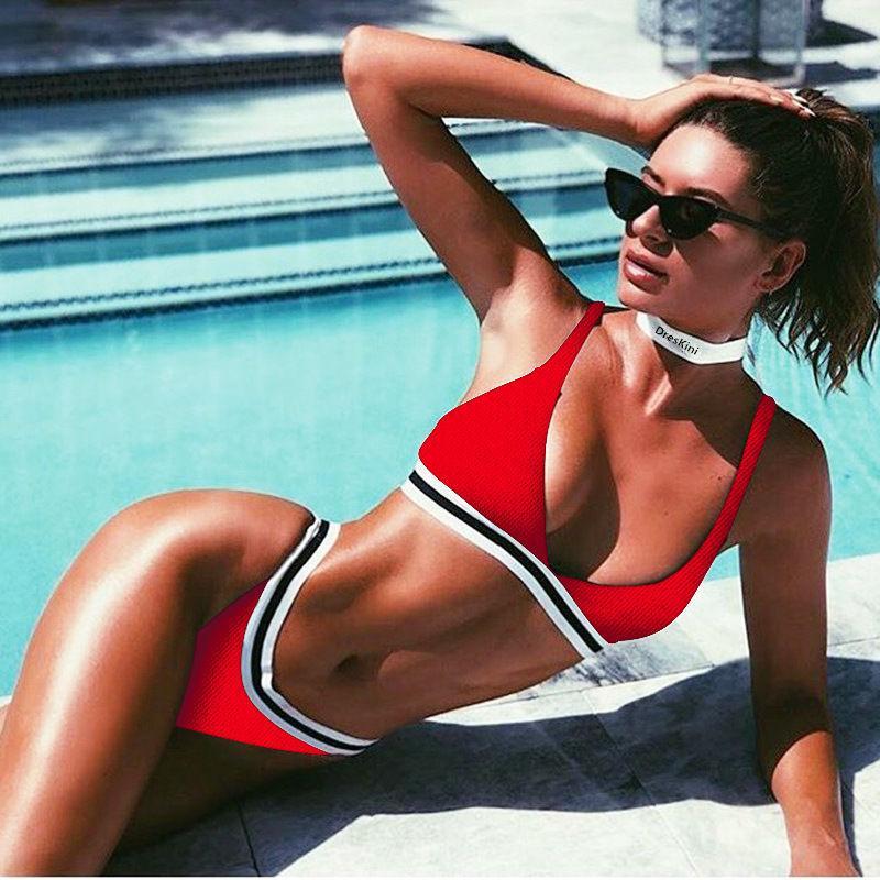 Donna Increspatura Push-Up Reggiseno Imbottito senza Spalline Set Bikini