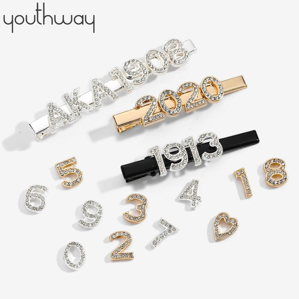 CUSTOM Personalized digital Number hairpins Crystal Hair Pins Rhinestone Alligator hair pins and clips girls hair accessories