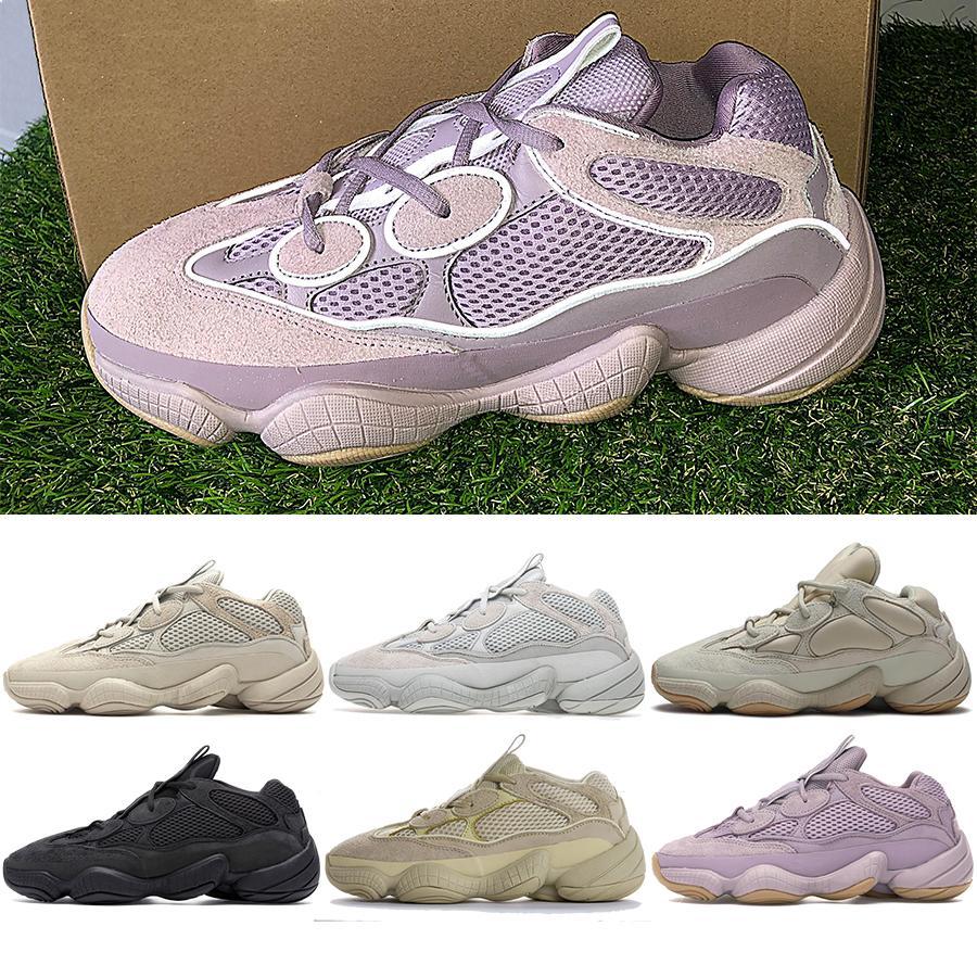 Kanye Running Shoes Desert Rat 500 Reflective Soft Vision Stone Salt Bone White Super Moon Yellow Utility Black Mens Sports Trainers