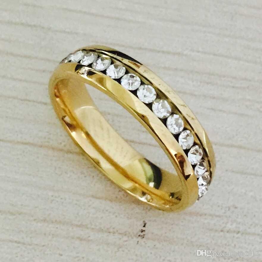 Mai dissolvenza 6 millimetri placcato oro 18K zircone CZ anello di fidanzamento Wedding Band amanti Anello in acciaio inox per le ragazze donne uomini