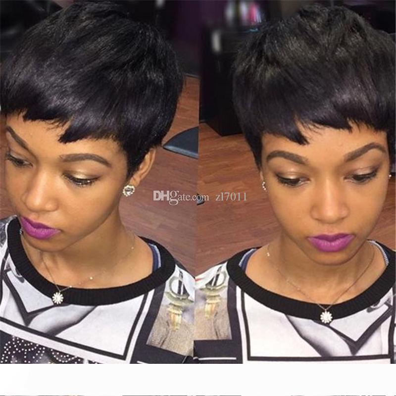 Cheap parte dianteira do laço Perucas Reta Cabelo Humano Perucas brasileiro nenhum melhor cabelo Lace guleless laço completo muito curto perucas de cabelo da Mulher Negra
