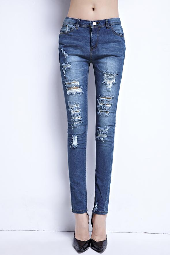 New Fashion Boutique Stretch Cotton Ripped Bleistift-Jeans Sexy Jeans dünne Hosen