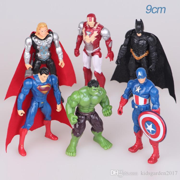 6шт/лот игрушки Марвел Мстители набор супергероев Бэтмен Халк Тор Капитан Америка действие смола цифры модель куклы Оптовая