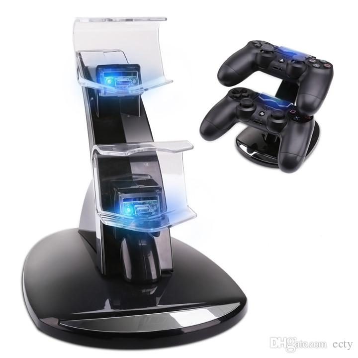 Hot LED Dual Charger Dock Mount USB Charging Stand For PlayStation 4 PS4 Xbox One Gaming Wireless Controller retail package