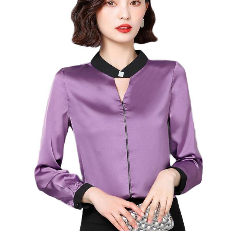 طويلة الأكمام بلوزة من الشيفون المرأة القمصان مكتب الأزياء الكورية الحرير بلوزة المرأة بلايز زائد الحجم 3XL نساء البلوزات Blusas موهير