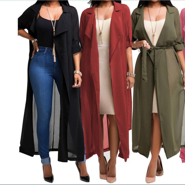 Para mujer abrigos de manga larga de la oficina de señora Casual Cardigan gasa color sólido ata para arriba la chaqueta de moda de primavera y verano para las mujeres Cardigan