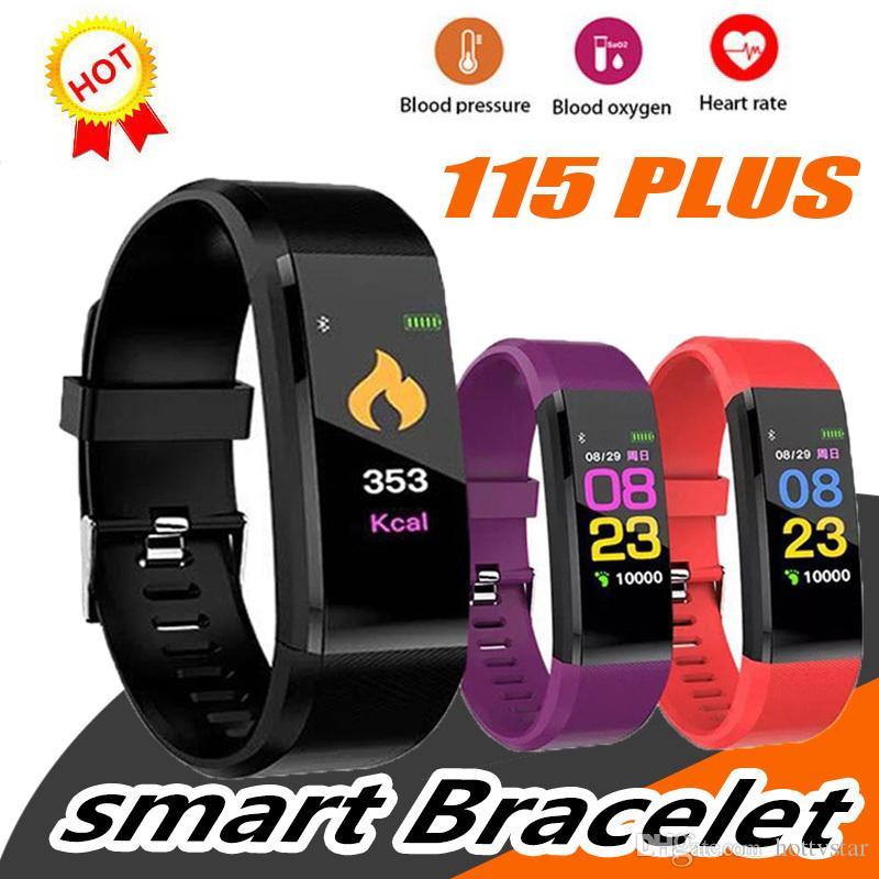 Schermo LCD ID115 più intelligente del braccialetto della fascia di colore Fitness Tracker contapassi frequenza cardiaca di sangue Band monitor della pressione Wristband