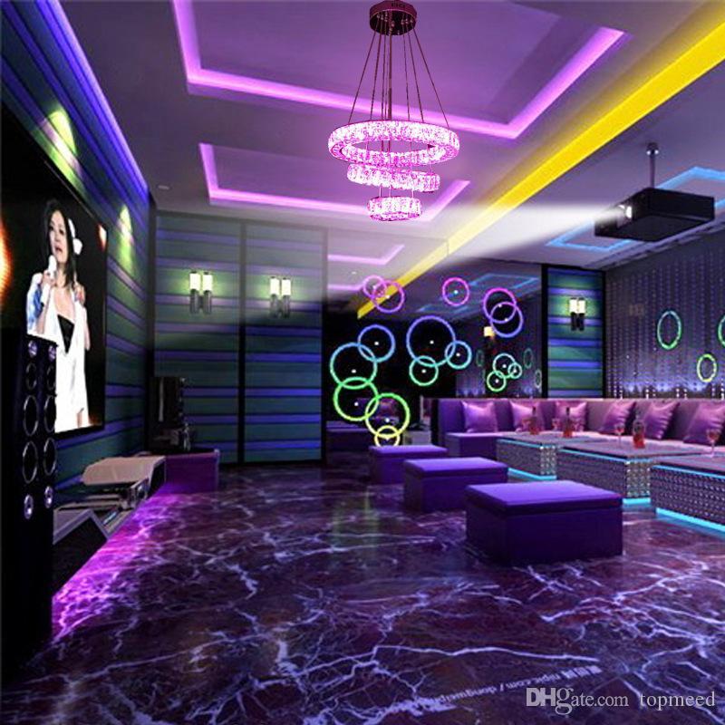 새로운 RGB 크리스탈 샹들리에 LED 펜던트 조명 고급 라운드 크리스탈 램프 3 반지 바 가게 가정 장식을위한 조명기구를 중단 pendente