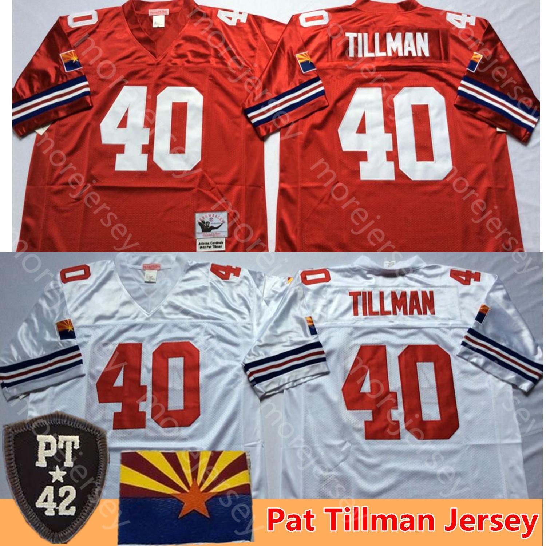 NCAA Football Jersey 40 Pat Tillman Red PT 42 patch Throwback Tudo costurado Men Tamanho M-3XL