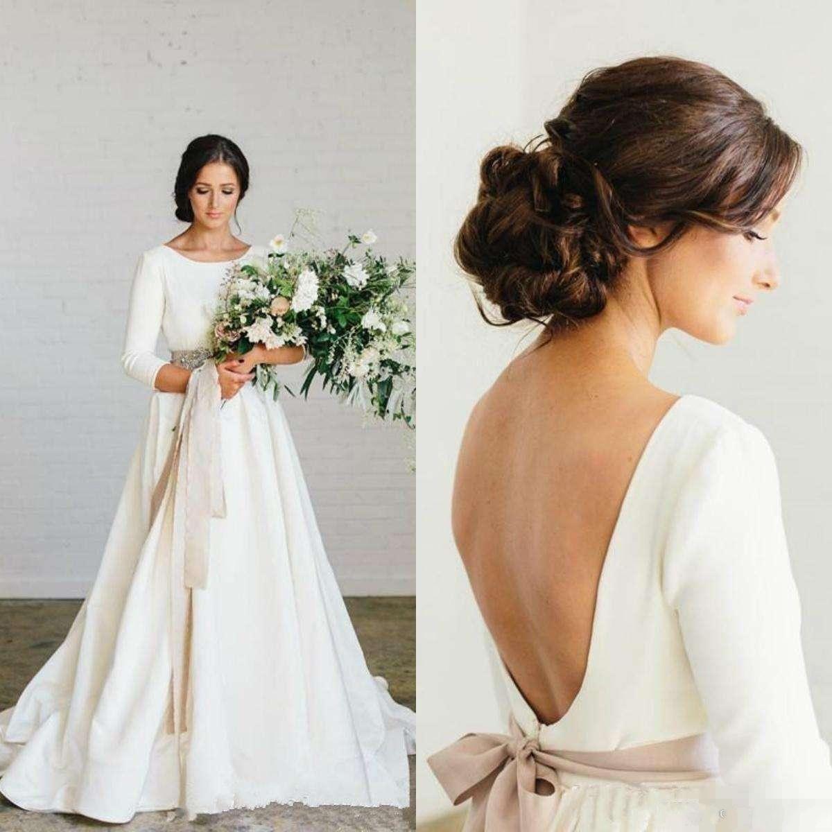 Discount Country Satin Boho Wedding Dresses Long Sleeves 2019