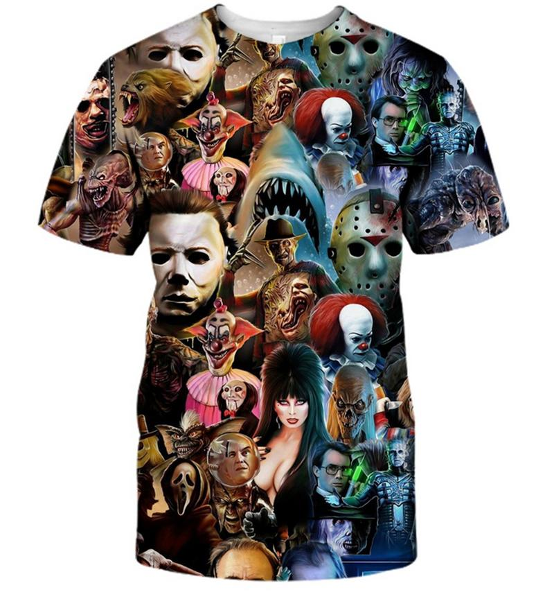 Fashion Men/Women Halloween Character Collage 3D Print Casual T-Shirt Short Sleeve DF69