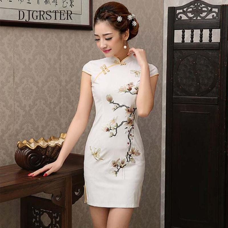 DJGRSTER chinesischen Stil Stickerei Cheongsam Kleid Frauen Qipao Short chinesischen traditionellen Kleid Short Sleeve Cheongsams